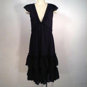 MARC JACOBS deep V raw edge tiered ruffle dress
